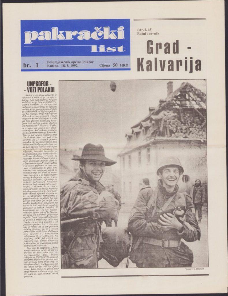 Pakrački list, br. 1 18.5.1992.